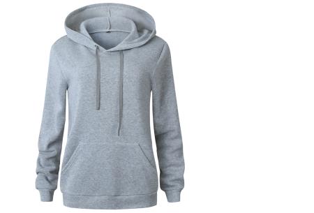 Cozy hoodie | Heerlijk comfortabele dames trui met zachte fleece binnenzijde lichtgrijs