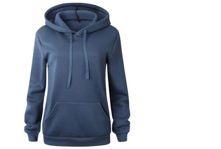 Cozy hoodie | Heerlijk comfortabele dames trui met zachte fleece binnenzijde blauw