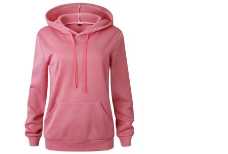 Cozy hoodie | Heerlijk comfortabele dames trui met zachte fleece binnenzijde roze