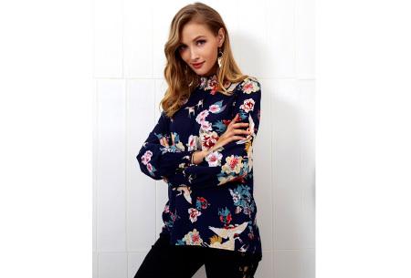 Flower blouse | Stijlvolle dames top met bloemenprint blauw