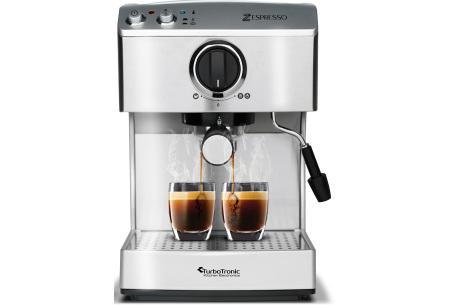 TurboTronic Zespresso koffiezetapparaat | Voor de heerlijkste verse koffie thuis of op kantoor zilverkleurig