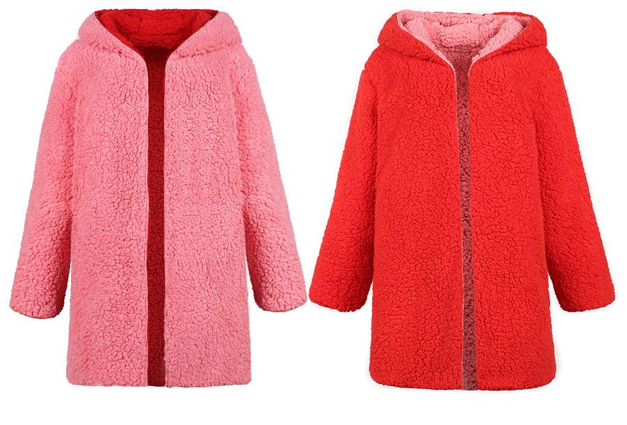 Reversible teddy vest Maat 3XL - Roze/rood