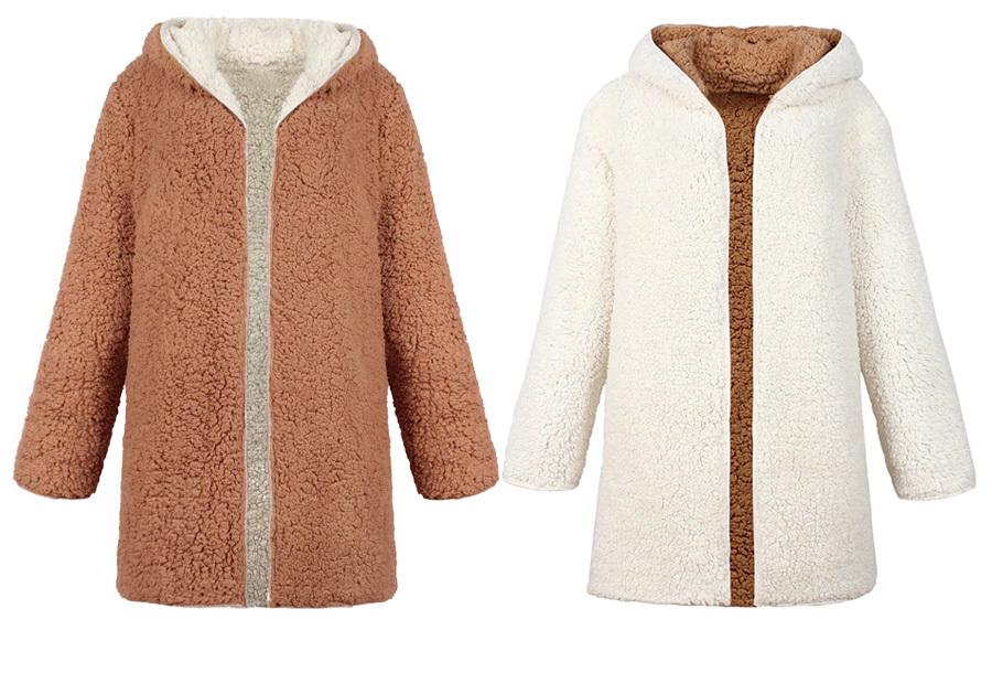 Reversible teddy vest Maat 3XL - Wit/camel