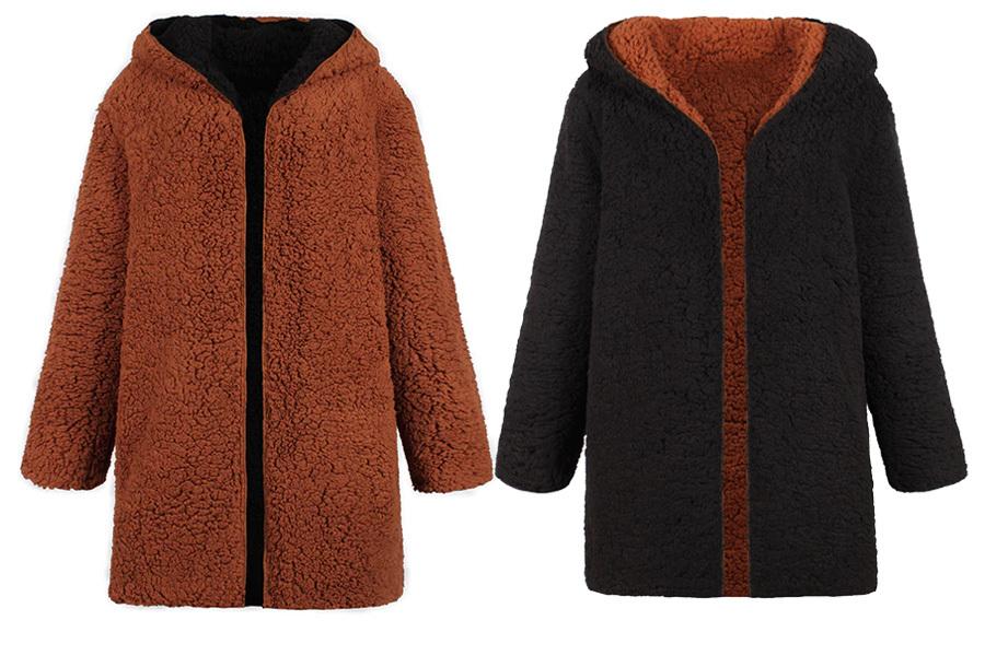 Reversible teddy vest Maat 3XL - Zwart/bruin