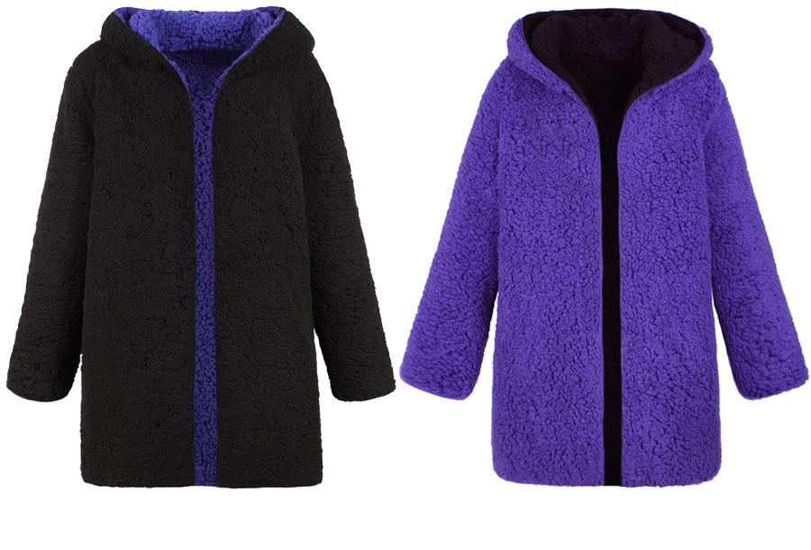 Reversible teddy vest Maat 3XL - Zwart/paars
