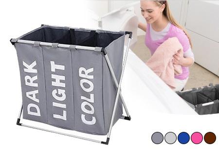 Wasmand organizer met 3 vakken | Al je was direct op kleur gesorteerd!