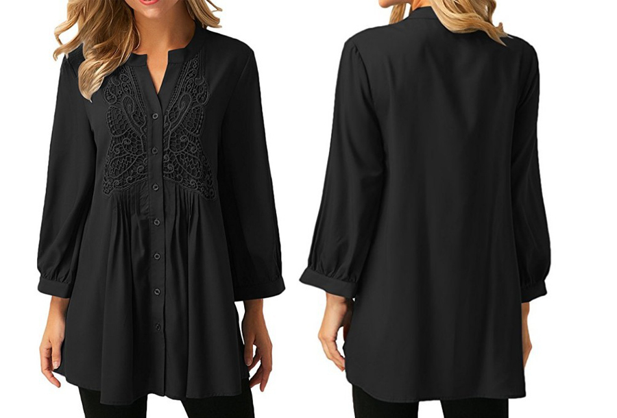 Lacey blouse Maat 3XL (NL maat XL) - Zwart
