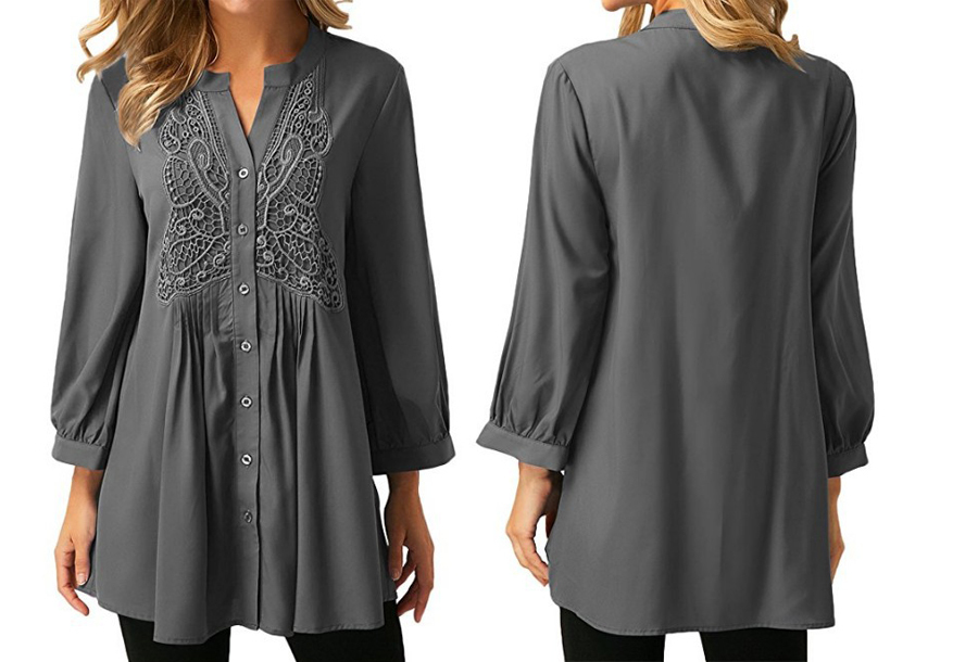 Lacey blouse Maat 3XL (NL maat XL) - Grijs