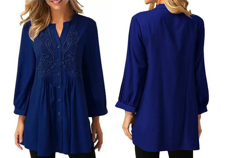 Lacey blouse Maat 3XL (NL maat XL) - Blauw