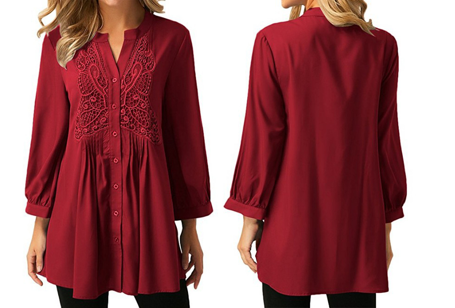 Lacey blouse Maat 3XL (NL maat XL) - Rood