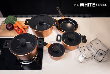 Keramische pannenset 10-delig | Pannen voor alle warmtebronnen, incl. inductie - nu met 4 gratis opbergbakjes!