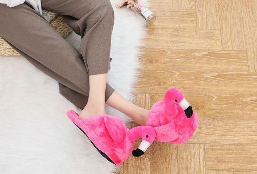 Flamingo sloffen Donkerroze