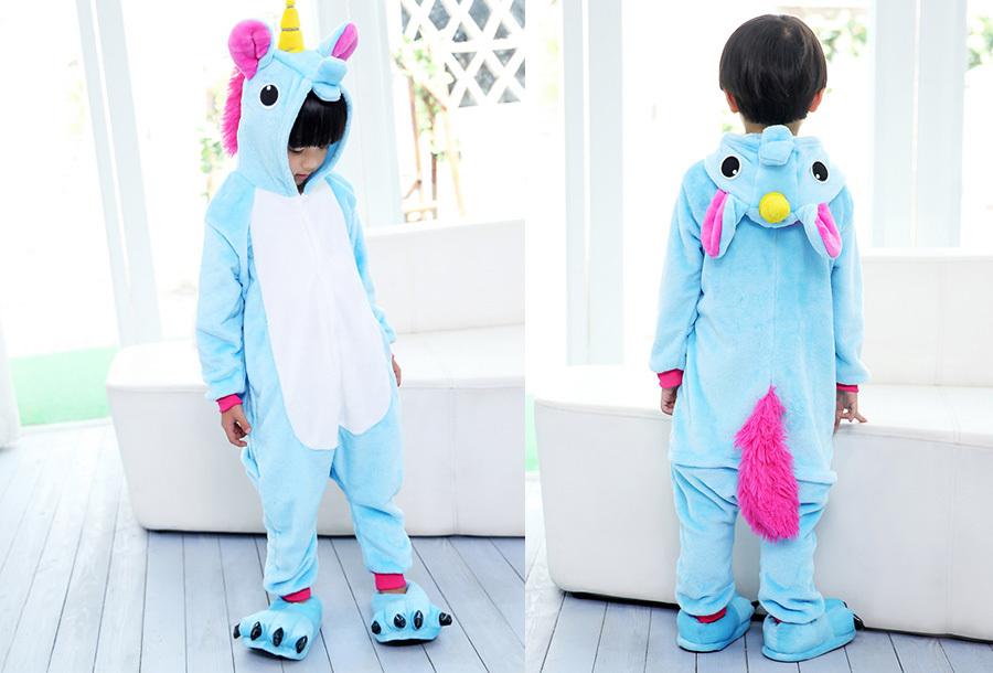 Unicorn onesie kinderen Kinderlengte 140 CM - Blauw