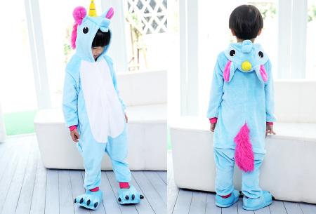Unicorn onesie voor kinderen | Zacht, warm en comfortabel eenhoorn huispak Blauw