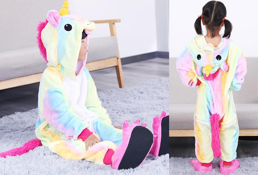 Unicorn onesie kinderen Kinderlengte 140 CM - Multicolor