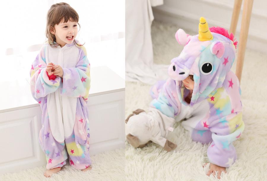 Unicorn onesie kinderen Kinderlengte 140 CM - Sterren