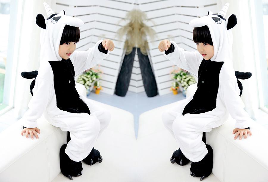 Unicorn onesie kinderen Kinderlengte 140 CM - Wit