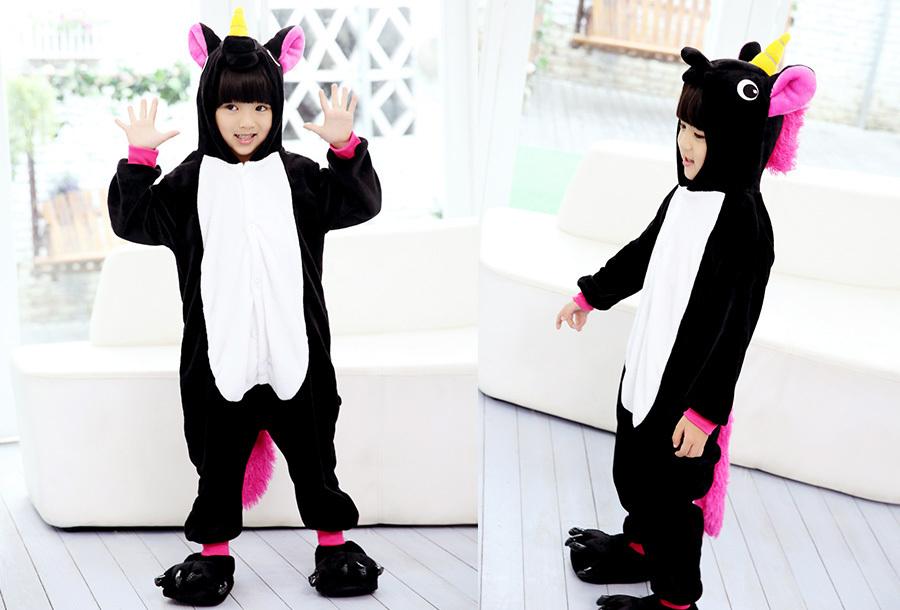 Unicorn onesie kinderen Kinderlengte 140 CM - Zwart