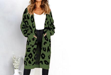 Leopard vest | Heerlijk gebreid vest met hippe luipaardprint legergroen