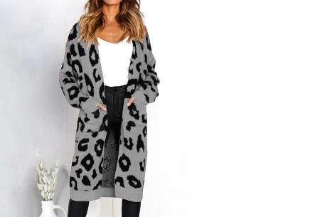 Leopard vest | Heerlijk gebreid vest met hippe luipaardprint grijs
