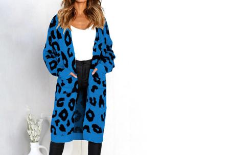 Leopard vest | Heerlijk gebreid vest met hippe luipaardprint blauw