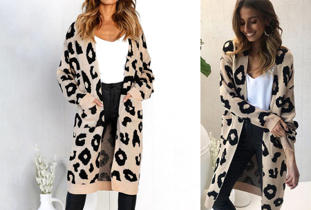 Leopard vest | Heerlijk gebreid vest met hippe luipaardprint khaki