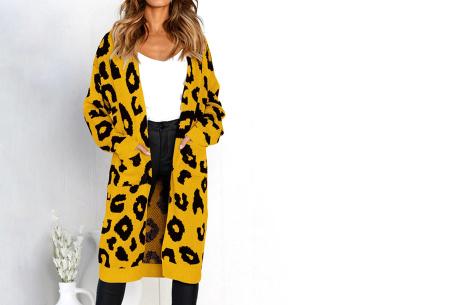Leopard vest | Heerlijk gebreid vest met hippe luipaardprint geel