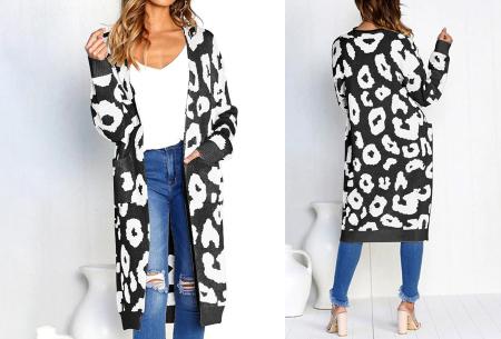 Leopard vest | Heerlijk gebreid vest met hippe luipaardprint zwart