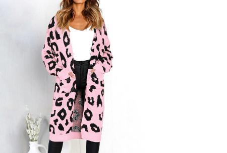 Leopard vest | Heerlijk gebreid vest met hippe luipaardprint roze