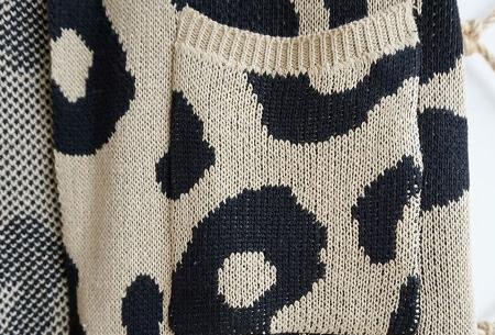 Leopard vest | Heerlijk gebreid vest met hippe luipaardprint