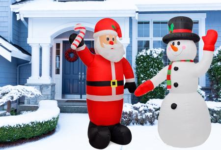 Opblaasbare kerstman & sneeuwpop met LED licht | XL kerstfiguren voor in je huis of tuin