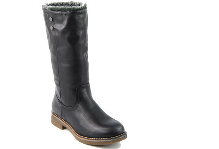 Gevoerde laarzen in 2 modellen | Heerlijk warme laarzen voor de koude winter 1089-PA-Zwart