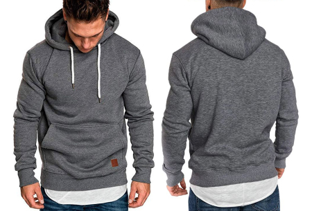 Heren hoodie | Hippe & comfortabele sweater met warme fleece binnenzijde donkergrijs