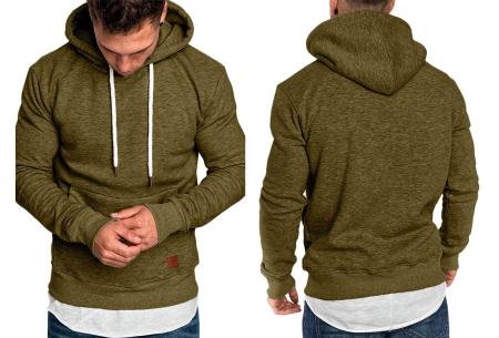 Heren hoodie | Hippe & comfortabele sweater met warme fleece binnenzijde legergroen