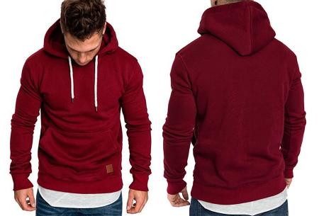 Heren hoodie | Hippe & comfortabele sweater met warme fleece binnenzijde wijnrood