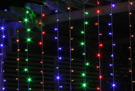 LED lichtgordijn met 300 lampjes | Sfeervolle verlichting, perfect voor de feestdagen! gekleurd