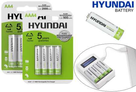 Hyundai oplaadbare batterijen | AA of AAA batterijen - 8- of 16-pack