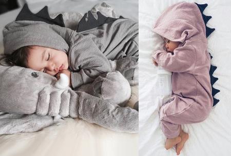 Dino onesie voor baby & dreumes nu met mega korting in de aanbieding