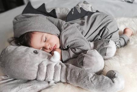 Dino onesie voor baby & dreumes | Schattig huispakje met het ontwerp van een dinosaurus grijs