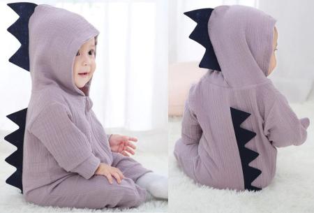 Dino onesie voor baby & dreumes | Schattig huispakje met het ontwerp van een dinosaurus paars