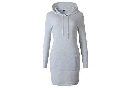 Hoodie dress | Jurk met zachte fleece binnenzijde  grijs