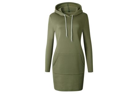 Hoodie dress | Jurk met zachte fleece binnenzijde  groen