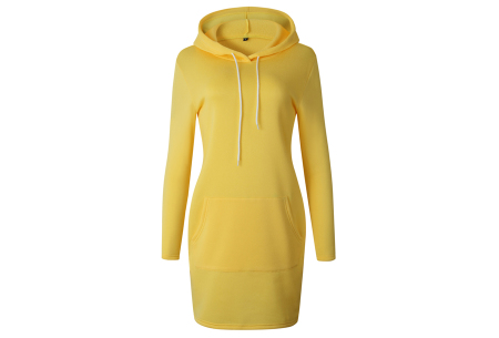 Hoodie dress | Jurk met zachte fleece binnenzijde  geel