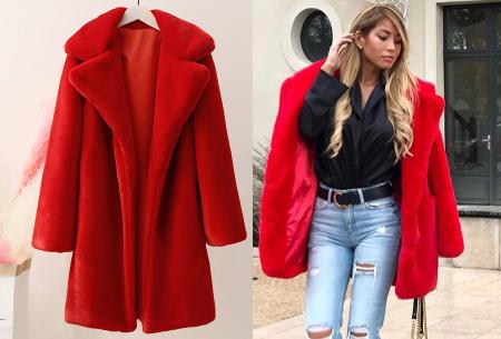 Bontjas van imitatiebont in 10 kleuren | Fashionable, stijlvol en heerlijk zacht rood
