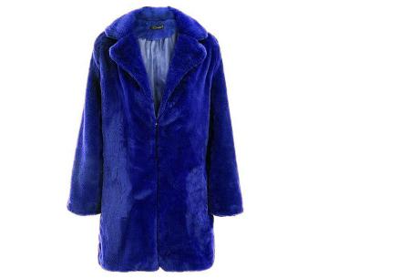 Bontjas van imitatiebont in 10 kleuren | Fashionable, stijlvol en heerlijk zacht blauw