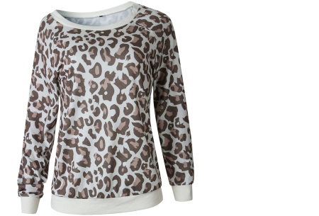 Panterprint sweater | Hippe en trendy dames sweater #1 crème