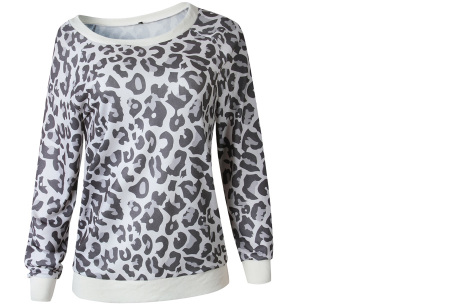 Panterprint sweater | Hippe en trendy dames sweater #1 grijs