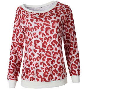 Panterprint sweater   Hippe en trendy dames sweater #1 rood