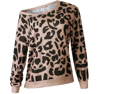 Panterprint sweater   Hippe en trendy dames sweater #2 camel