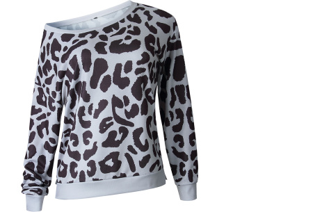Panterprint sweater | Hippe en trendy dames sweater #2 grijs